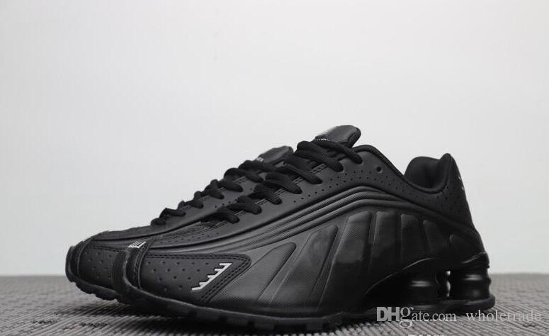 huge selection of 51532 5fe3b Free shipping 2019 Womens Mens Shox R4 Triple Black Basketball Shoes White  Silver Comet Red Black Shox R4 Sneakers US Size 5-13