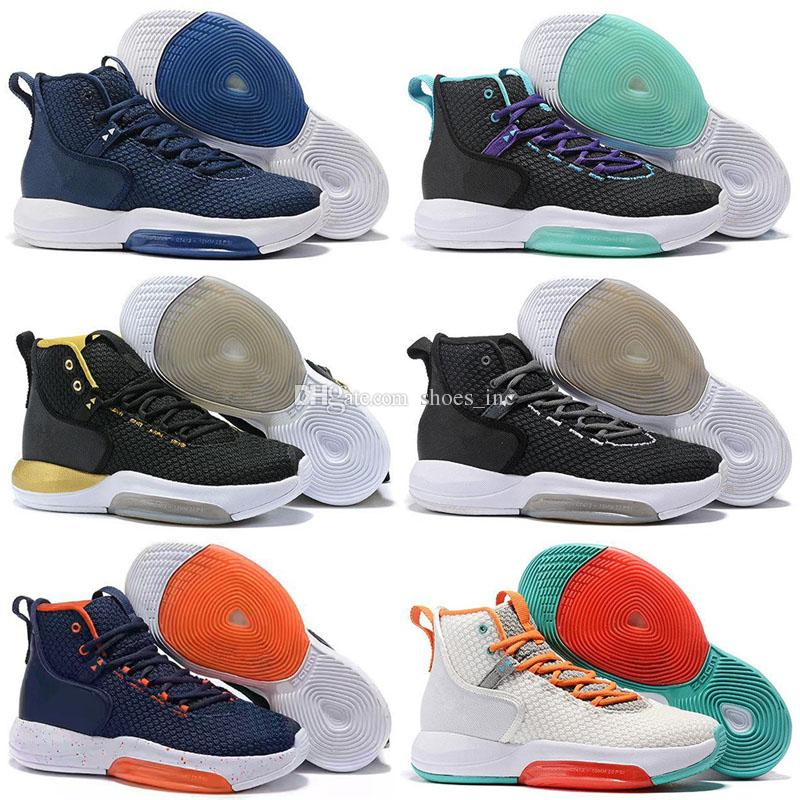 pretty nice 23536 5b576 Cheap Mens Air Zoom Rise Basketball Shoes Hyperdunk 2019 New Black White  Gold Red Blue Sneakers Tennis size 7-12