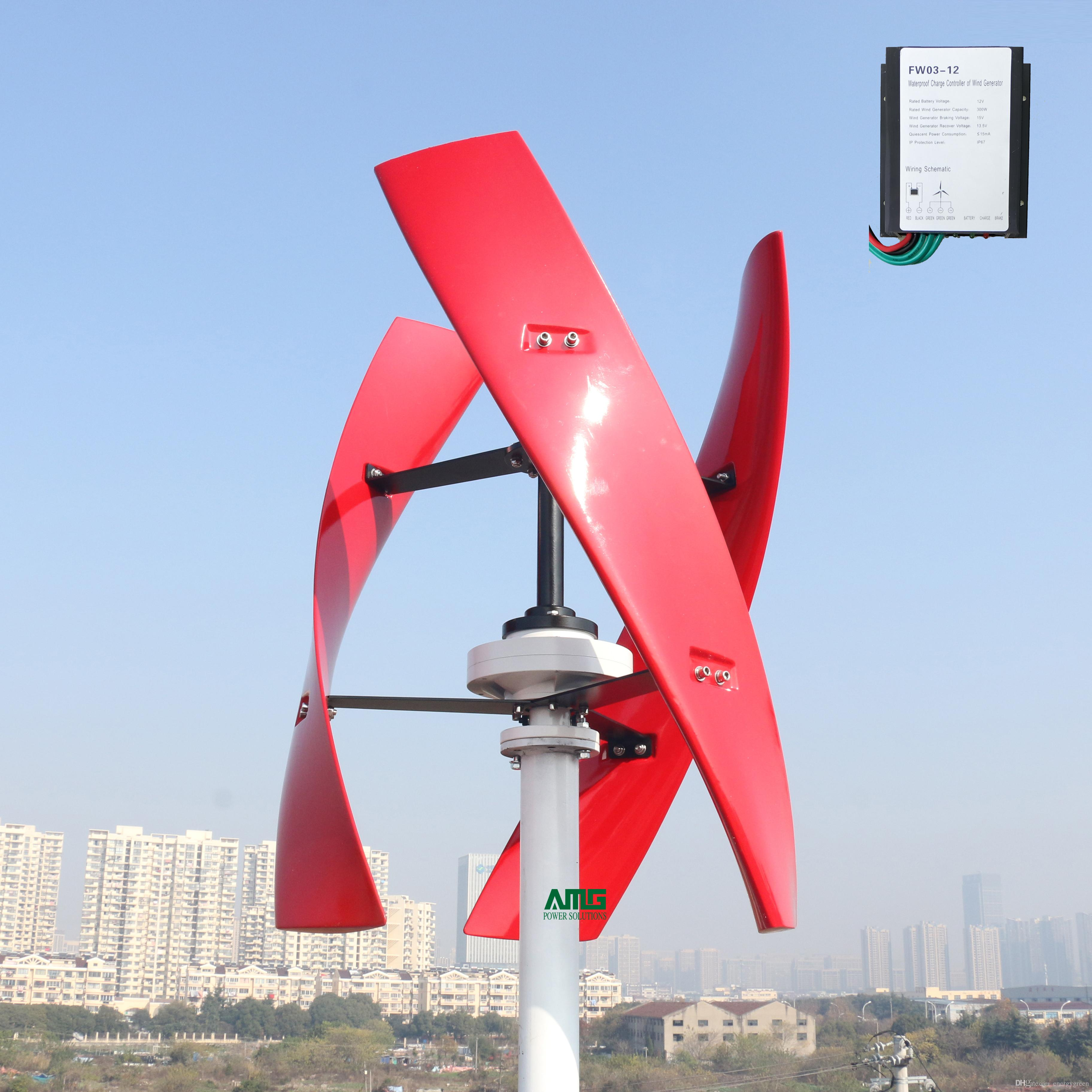 600w 24v spiral wind turbine generator red/white vawt vertical axis residential  energy with pwm charger controller small wind turbines wind turbine blade