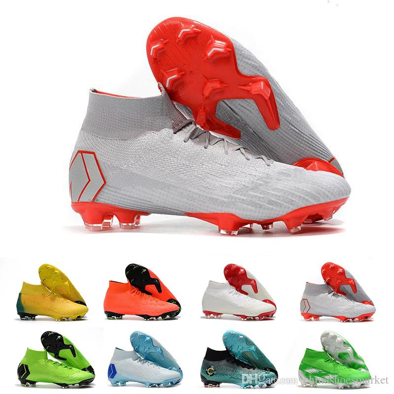 f8de39d022bcf Mercurial Superfly VI 360 Soccer Shoes Mens World Player Of The Year  Ronaldo Cr7 FG CR Soccer Shoe Chaussures High Ankle Football Boots Running  Clothes ...