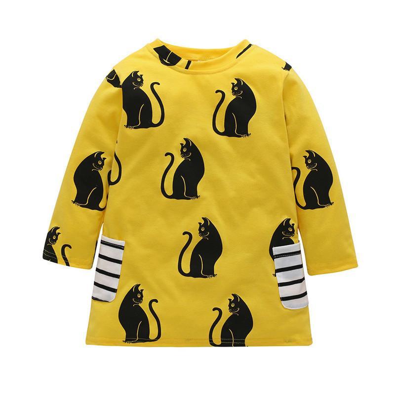 6fc22c45b169 2019 Girl Clothes Girls Dress Toddler Baby Kids Girls Cartoon Cat ...