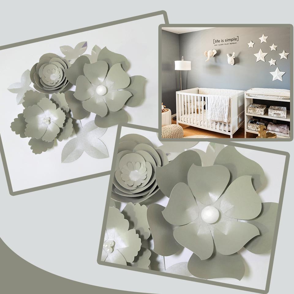 Acheter Main Argent Rose Bricolage Papier Fleurs Feuilles D\'argent ...
