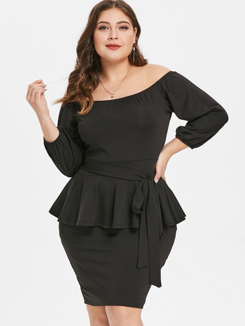 9ea2e0af179 Wipalo Plus Size Off The Shoulder 3 4 Sleeves Belted Peplum Dress Women  Clothing Winter Spring Black Bodycon Dress Vestidos 5XL Dresses For  Cocktail Dress ...