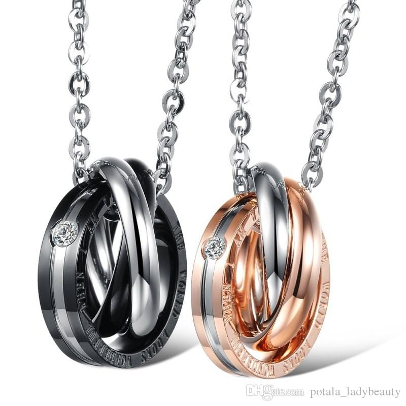 Tree-ring Couple Pendant Necklace The World Looks Wonderful When I am With You Stainless Steel Zircon Personality Designer Women Men Jewelry