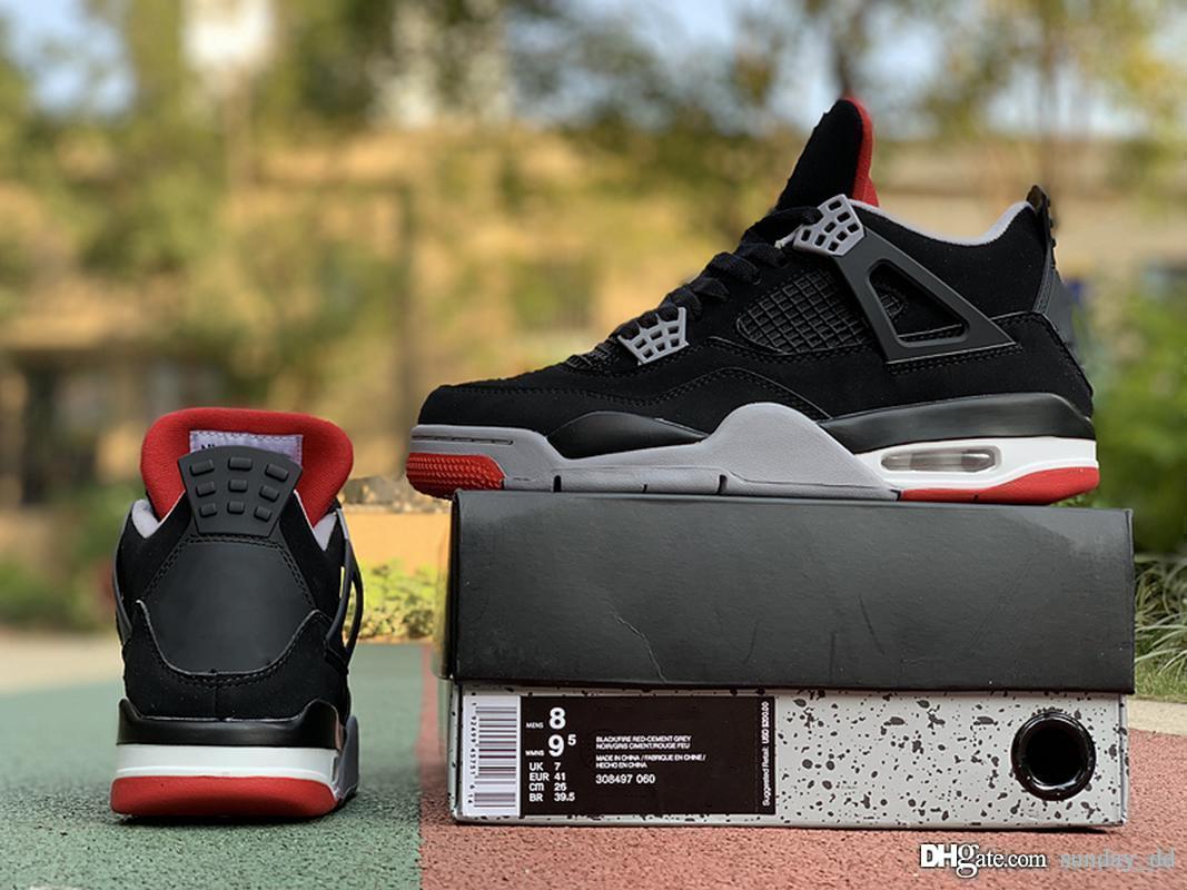 new concept f776c 0173a Acheter 2019 Release 4 Bred Basketball Shoes Classic Authentique Hommes IV  Sports Chaussures Black Cement Gris Sommet Blanc Feu Rouge Baskets 308497  060 7 ...