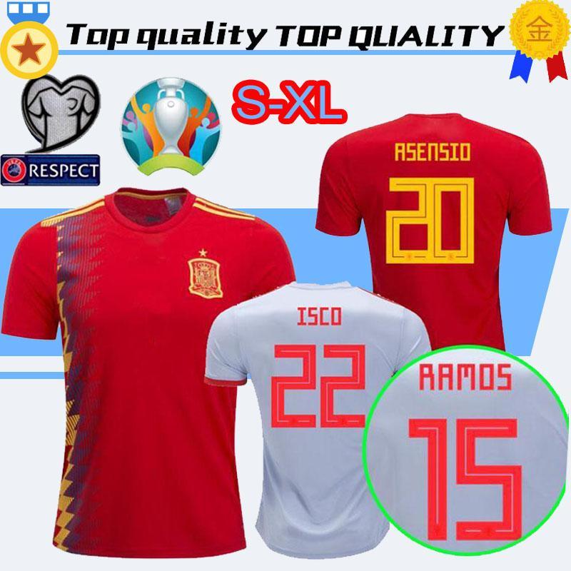 European Cup 2019 Spain Soccer Jersey 19 20 camiseta de futbol A INIESTA  Morata RAMOS DIEGO COSTA ASENSIO ISCO Home away Football shirt