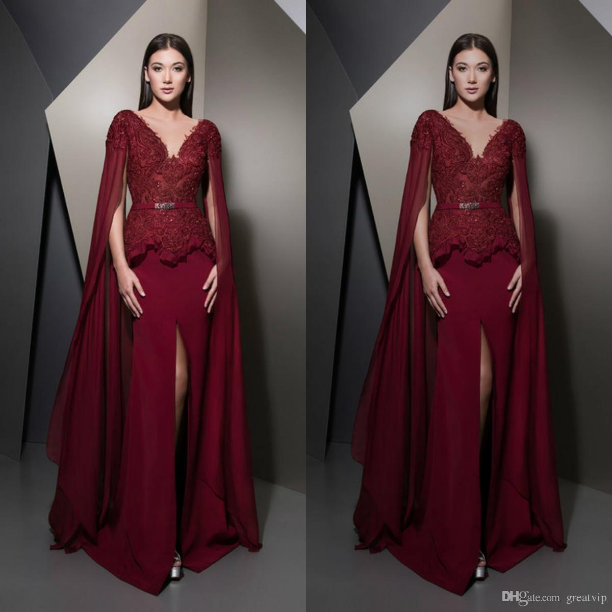 34b84c0151ebc 2019 Dark Red Evening Dresses V Neck Lace Beads Sash Long Sleeve Split Prom  Gowns Plus Size Bridesmaid Party Dress Vestidos De Noiva Sparkly Evening  Dresses ...