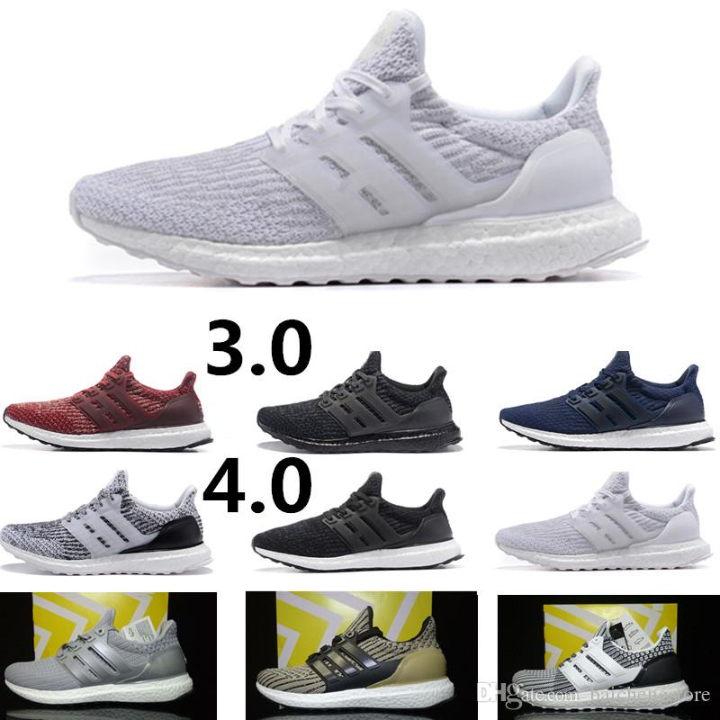 quality design 68970 13785 2018 High Quality Ultra Boost 4.0 3.0 Black White Primeknit Ultra Boosts 3  III Grey Men Running Shoes Ultraboost 3 4 Women Sport Sneakers