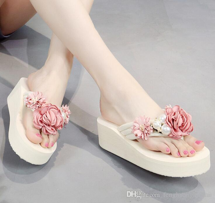 3366e891c 2019 New Summer Women S Shoes Wedge Sandals Wedges Handmade Flowers Pearl  Rhinestones Thick Bottom Slippers Beach Sandals Glass Slipper Blue Shoes  From ...
