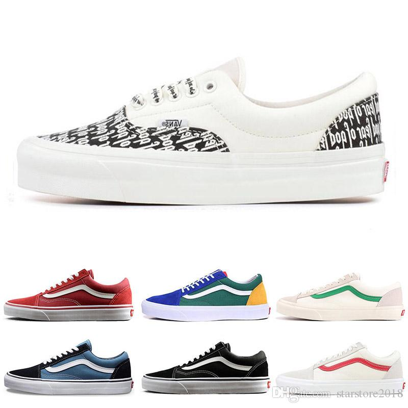 f6aecf93cb5c04 2019 Best Discount YACHT CLUB Vans Old Skool FEAR OF GOD Black White  MARSHMALLOW 36 DX PRIMAR Men Women Sneakers Fashion Skate Casual Shoes From  ...