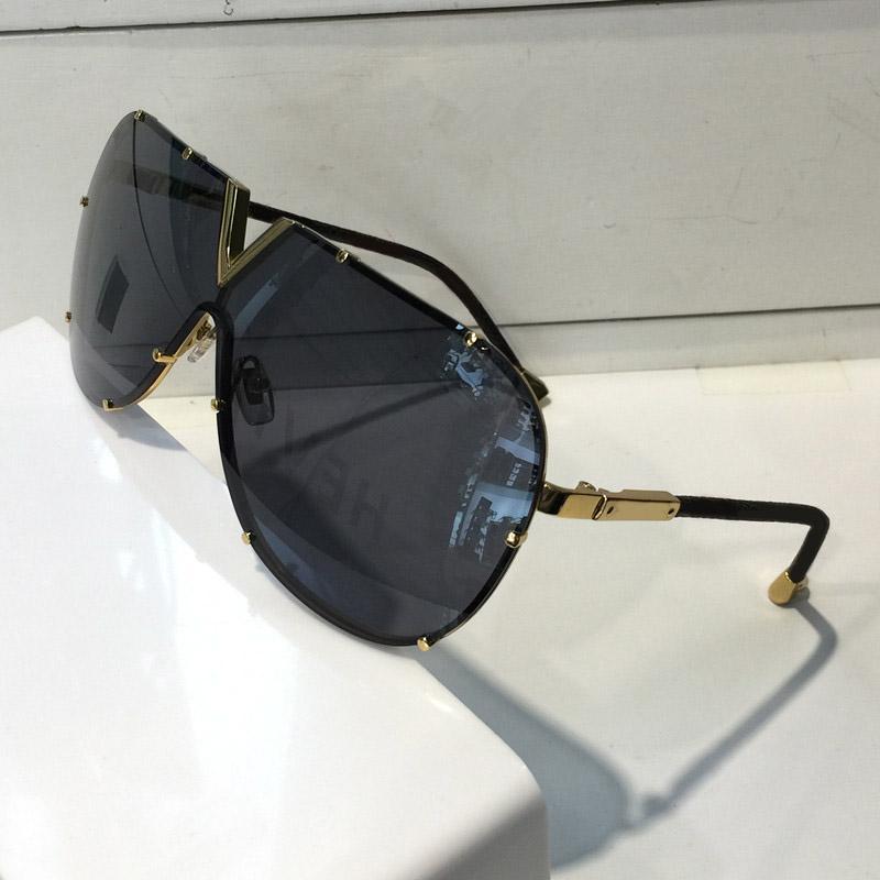 الرجال النساء 0926 تصميم النظارات الشمسية موضة نظارات الشمس البيضاوي حماية من الأشعة فوق عدسة طلاء رمادي الإطار عدسة بدون إطار اللون مطلي البني مع حالة