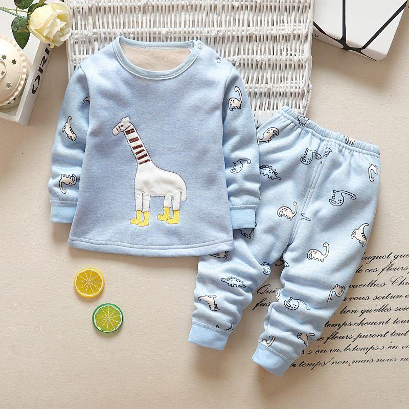 0706cdeb7 Good Qulaity Autumn Girls Boys Pajamas Suit Fashion Cotton Fleece T ...