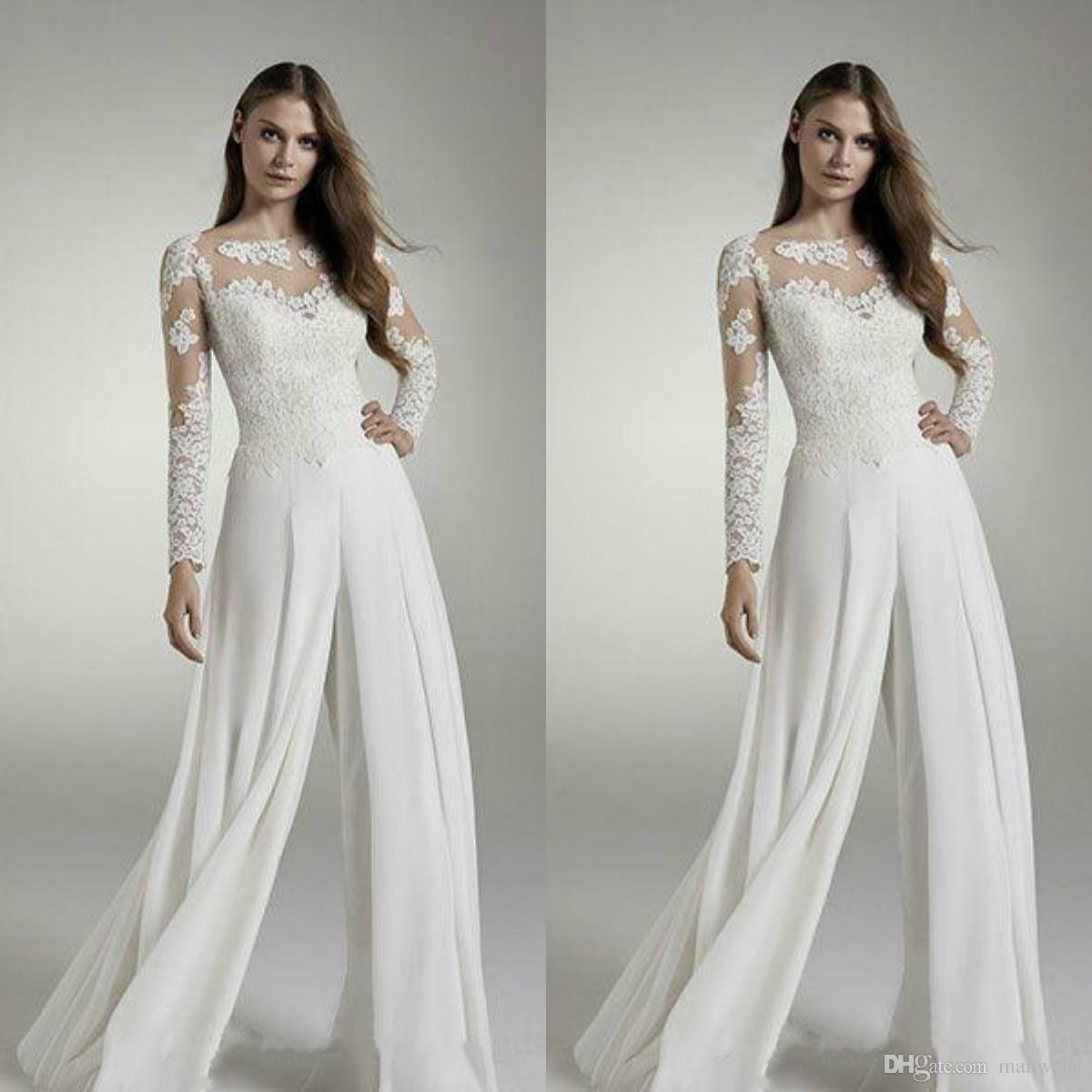 1c990f1a6eb Discount Zuhair Murad Jumpsuits 2019 Wedding Dresses Long Sleeve Lace  Appliqued Bridal Gowns Chiffon Suits Wedding Dress Reception Designer Cheap  Off The ...