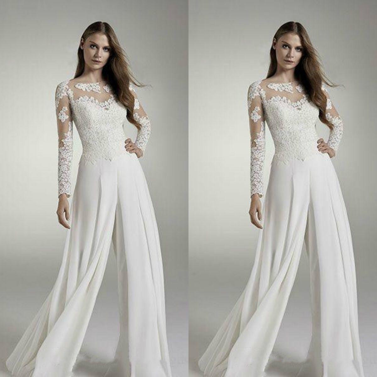 Designer Wedding Gowns Cheap: Zuhair Murad Jumpsuits 2019 Wedding Dresses Long Sleeve