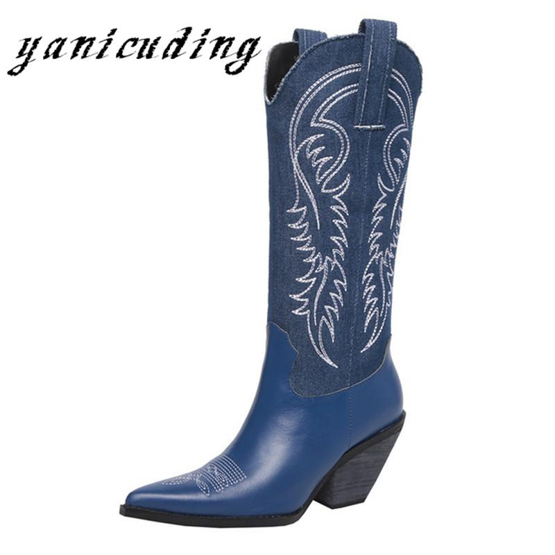 968a8fbcd89 Embroidered Leather Women Cowboy Boots Pointed Toe Strange Heel Knee High  Knight Western Boots Retro Runway Show Woman Shoes