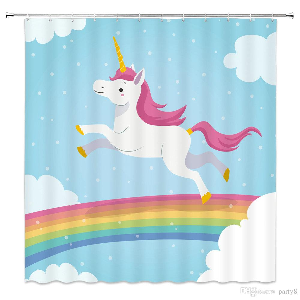 2019 Cartoon Unicorn Rainbow Shower Curtains Child Baby Bathroom Decor Waterproof Polyester Fabric Home Bath Curtain Set 69 X 70 Inch From Party8