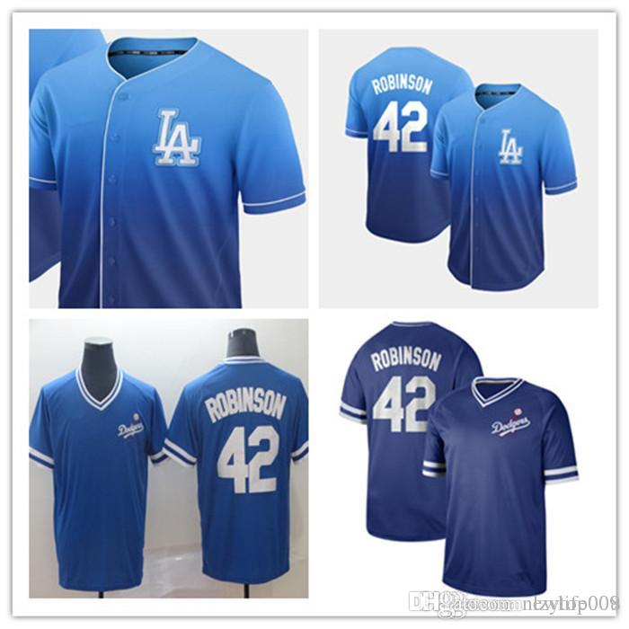 sports shoes 229be 74eac custom 2019 Men s Angeles Dodgers 42 Jackie Robinson Cooperstown Collection  Legend V-Neck women kids Fade Jersey