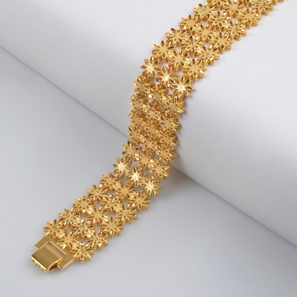Anniyo 21 cm / Ancho Pulsera para Mujeres / Hombres Oro Color Cobre Etíope Joyería Brazalete Africano Regalos de boda árabes # 072506