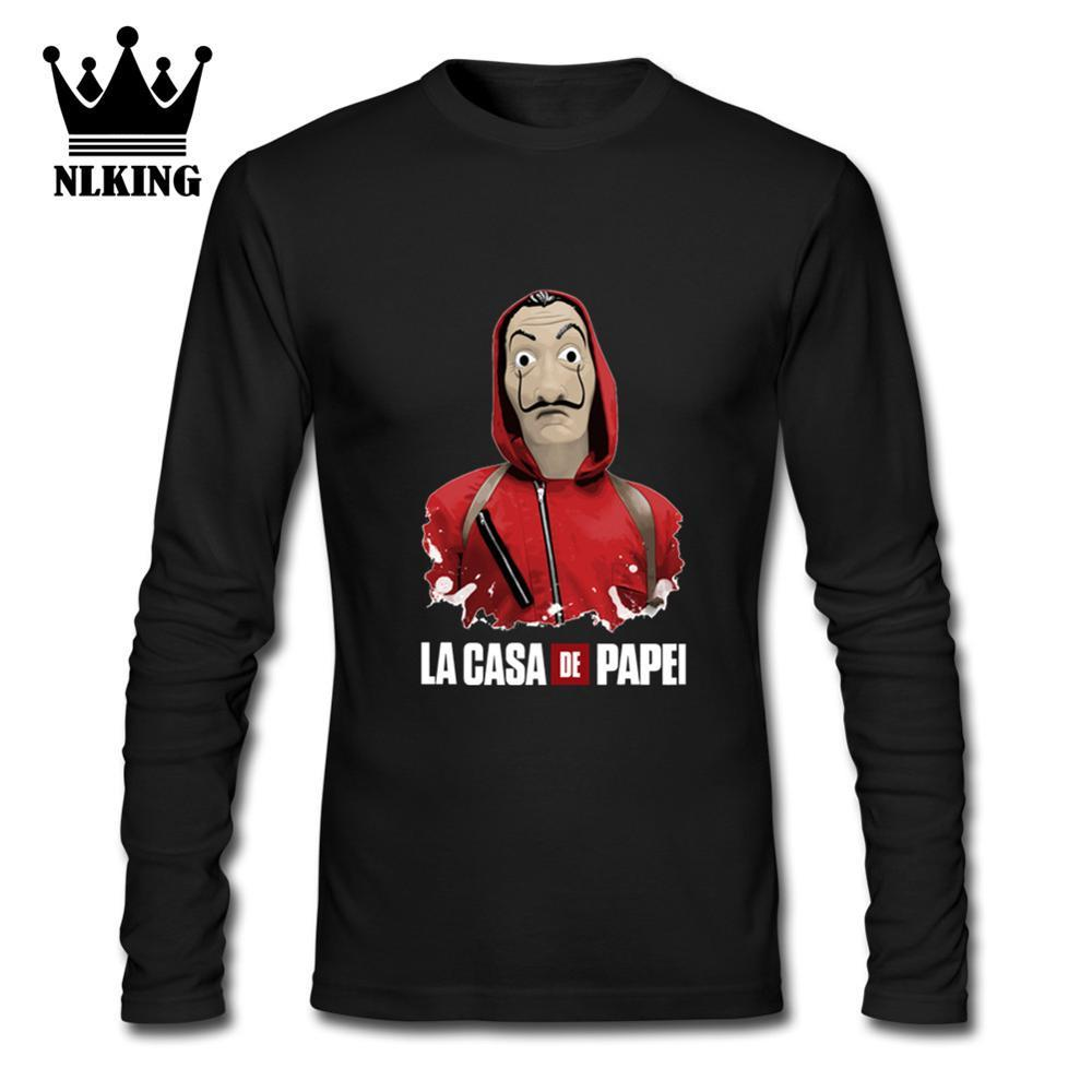 Famous House of Paper Money Heist La Casa De Papel T Shirt Full Sleeve T-shirt For Men Plus Size Cotton Team Tee Shirt Camiseta