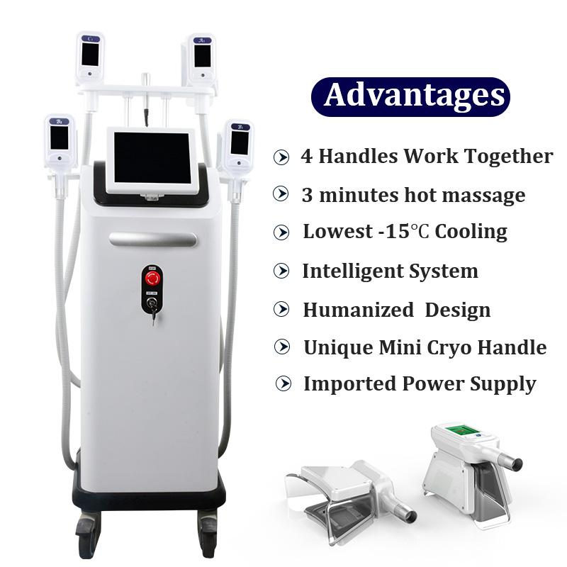 2019 Cryo Machine Freeze Fat Body Cellulite Removal Cryolipolysis Cool Shaping Therapy 4 Handles Work Simultaneously Spa Slimming Equipment