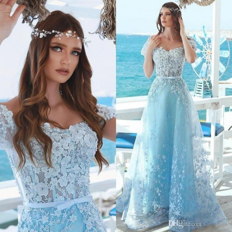 e192d750406 Light Sky Blue Elegant Lace 2019 Arabic Prom Dresses Sweetheart Beaded Ball  Gown Tulle Event Dresses Vintage Formal Party Gowns Corset Prom Dress Cut  Out ...