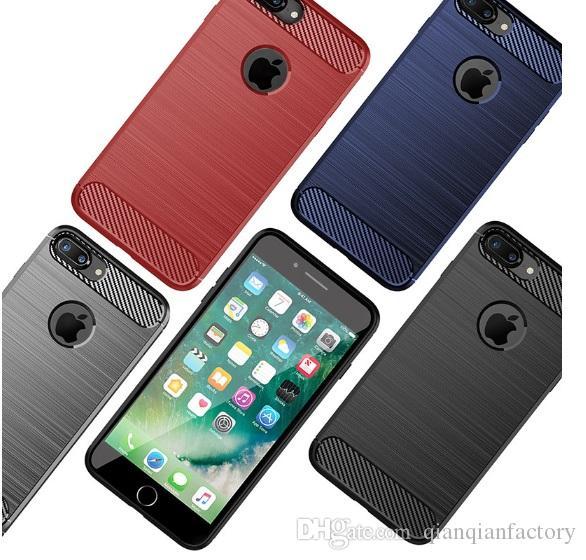 Fibra de carbono caso de telefone celular para iphone xs max xr 6 6 s 7 8 além de escovado silicone borracha macia tampa traseira para samsung s10 s9 além dhl
