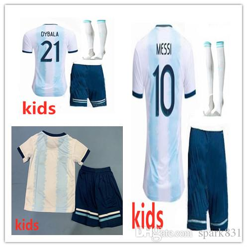 size 40 48620 683db 19 20 KIDS Argentina Soccer Jersey 2019 boys youth kits DYBALA Messi kun  Aguero Di Maria Child football soccer shirt uniform with socks