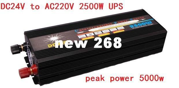 Freeshipping 2500W 5000W(peak) 12V 24V to 220V Power Inverter Charger &  UPS,Quiet and Fast Charge