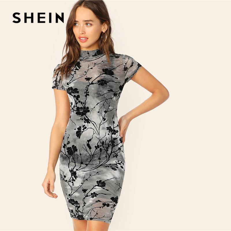 e479c8f16e 2019 Shein Chinese Style Grey Ink Painting Sheer Bodycon Pencil Summer Dress  Women Stand Collar Short Sleeve Slim Elegant Dresses C19042201 From Shen06,  ...