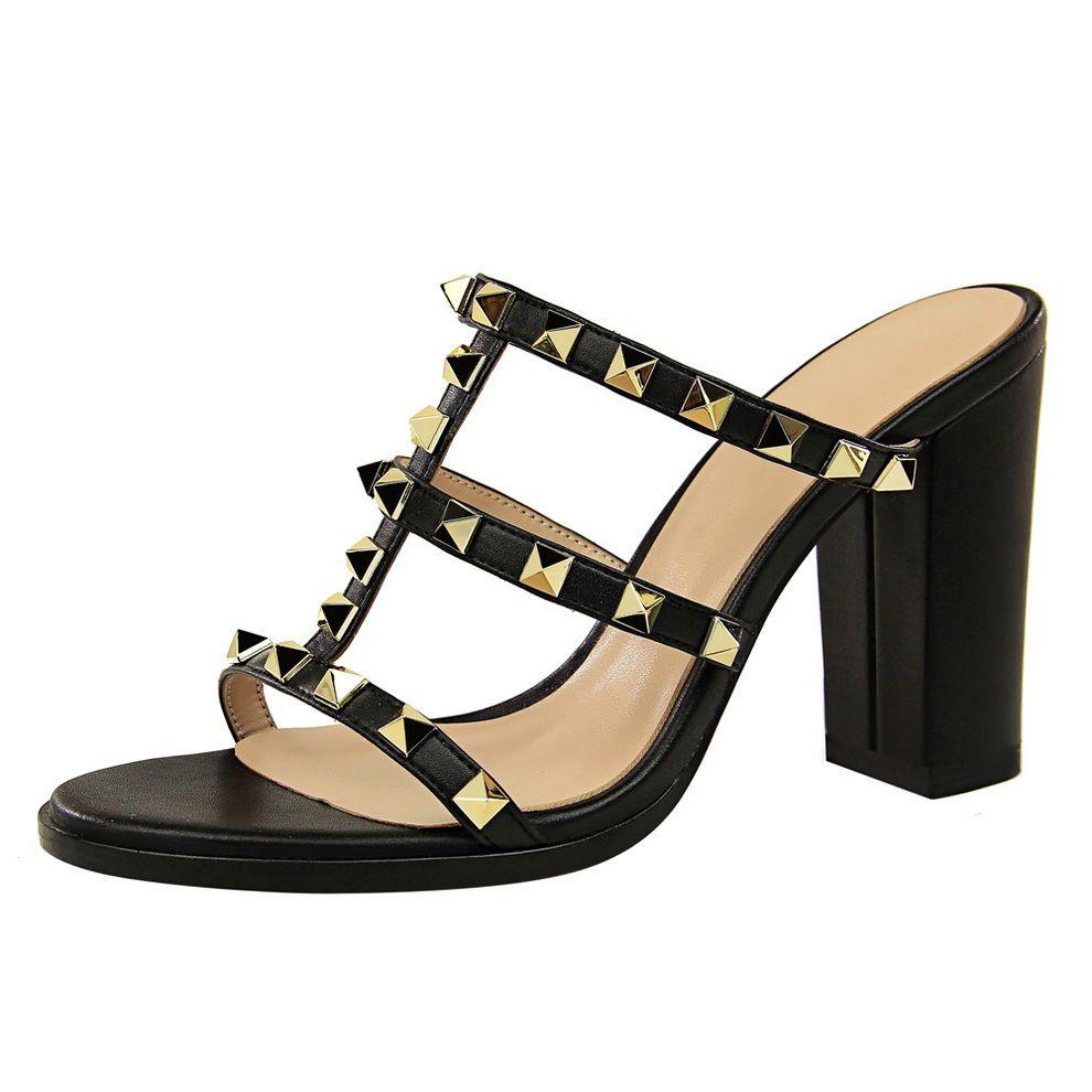 2019 neue sommer frauen 10 cm high heels mules shales rutscht weibliche nieten block heels hausschuhe sexy mode weiße schuhe flip flops