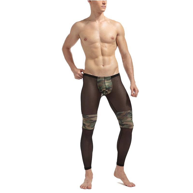 Men's Fashion Sexy Transparent Mesh Camouflage Tights Stage Performance Breathable Bodybuilding Shee Pants Legging
