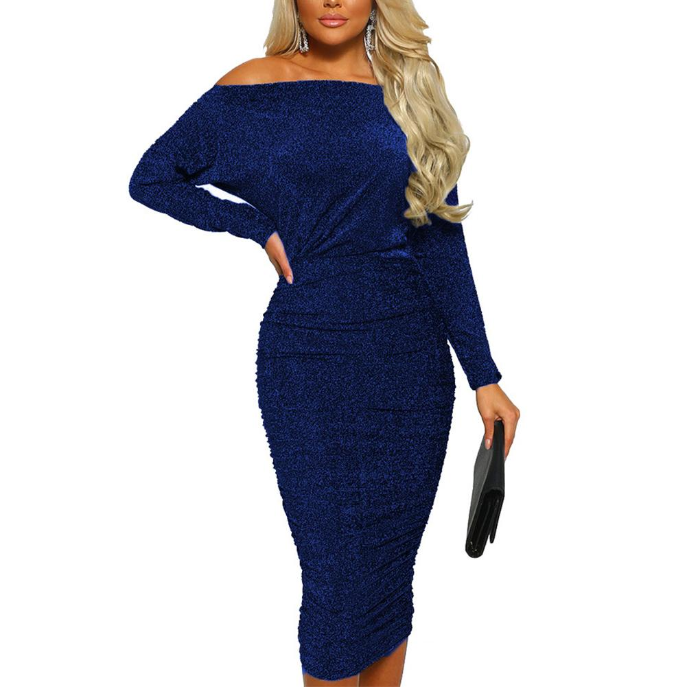 ae110c9c54ce4 Women Dress Long Sleeve Evening Party Wrap Bodycon Sexy Cocktail Off  Shoulder Female Fashion Shopping Club Pleated Sequin Midi Blue Dress Women  Party ...