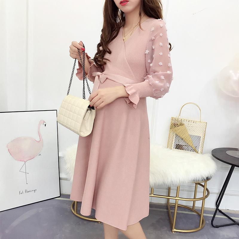 8627060b64af 2019 39  Sweet V Neck Ties Waist Knitted Maternity Nursing Dress Spring  Breastfeeding Clothes For Pregnant Women Bodycon Pregnancy From Beasy