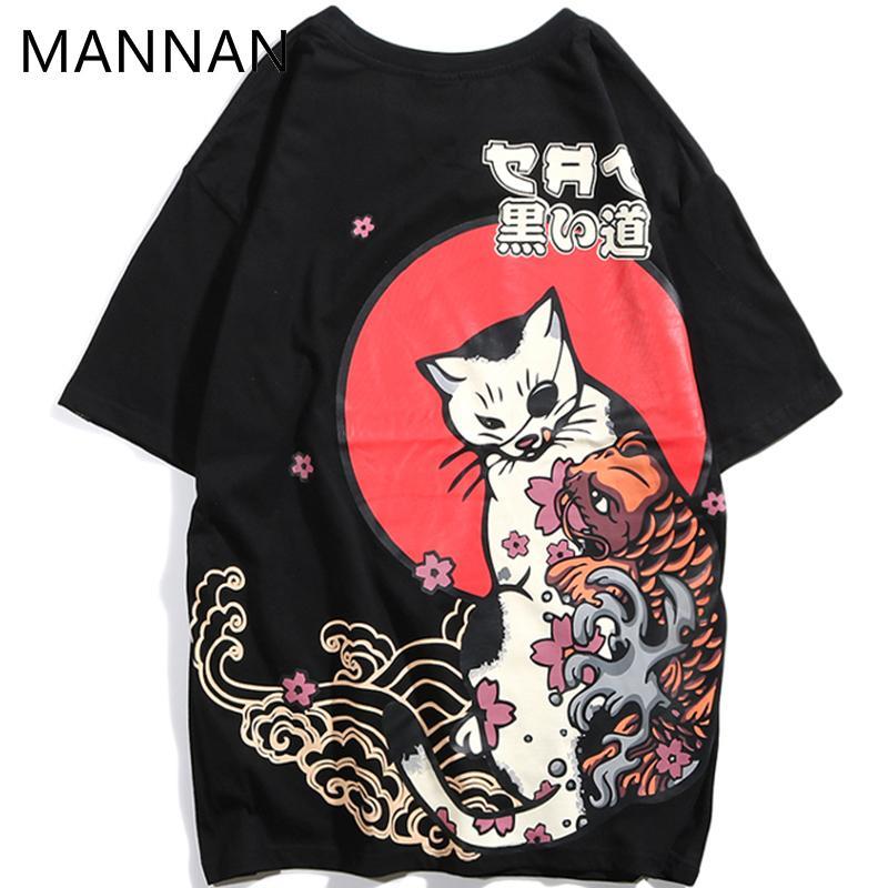 c32a408cb21c Mannan Japanese Ukiyo E Cat Hip Hop T Shirt Men Men Tshirt Homme ...