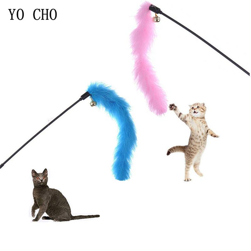 Pet Interactive Toy Colorful Turkey Feathers Tease Cat Stick Interactive Cat Toy Creative Premium Feather Toys Pet Supplies Random Color