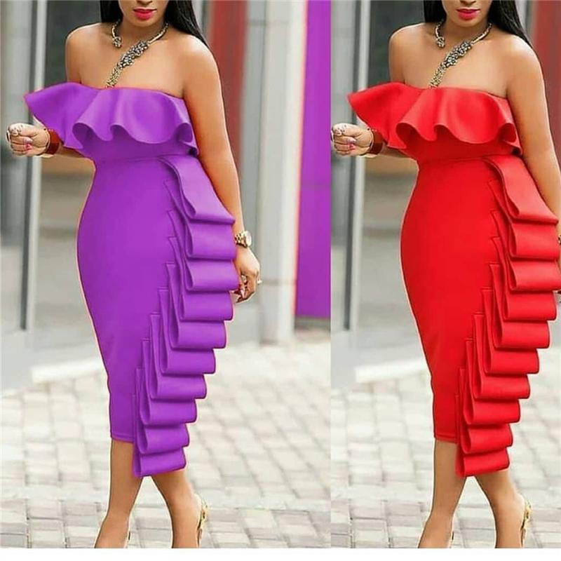 564a8a1d53b6 2019 Women Tube Dress Bodycon Evening Off Shoulder Club Party Ruffles Sexy  Dinner Clubwear Backless Ladies Slim Elegant Tight Robes From Nancypeng422
