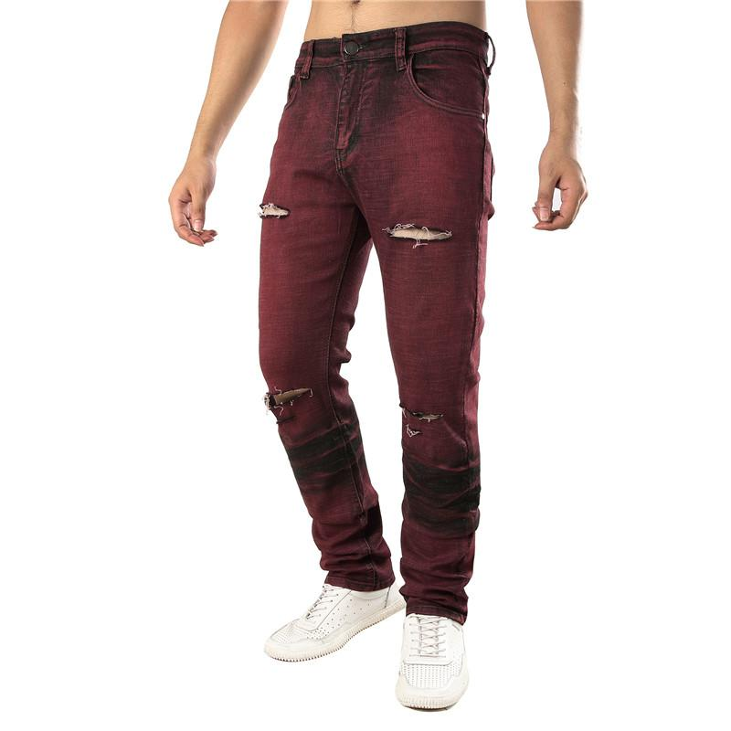 Holes Red Straight Slim Mens Stretch Jeans Fashion Designer Mens Long Pants Male Clothing
