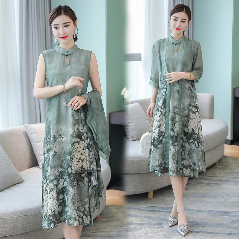 Womens Designer Dress Women Designer Clothes Summer Autumn New Chinese Style Dress Temperament Twill Long Flower Faux Silk Female Dresses