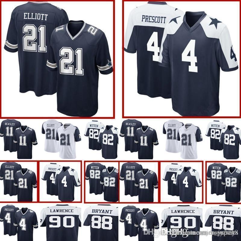 hot sale online 618ff a143f 4 Dak Prescott Dallas Cowboys 21 Ezekiel Elliott Jersey Mens 55 Vander Esch  82 Jason Witten 90 DeMarcus Lawrence Football Jerseys