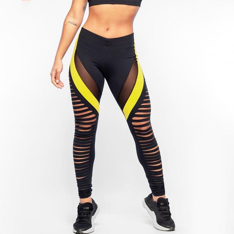 ed186eaad31 Shiny Women Yoga Pants Sports Leggings Hollow Out Spliced Mesh Workout  Running Skinny Slim Fitness Tights Black Pants Female