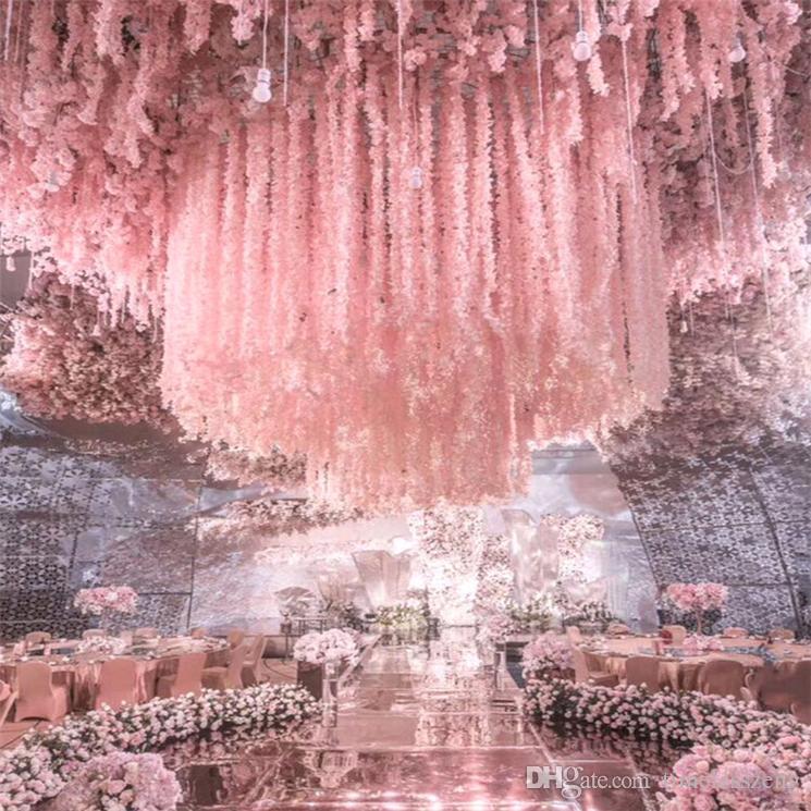 100cm 39inch 긴 우아한 인공 실크 꽃 등나무 포도 나무 웨딩 센터 피스 장식 꽃다발 화환 홈 장식