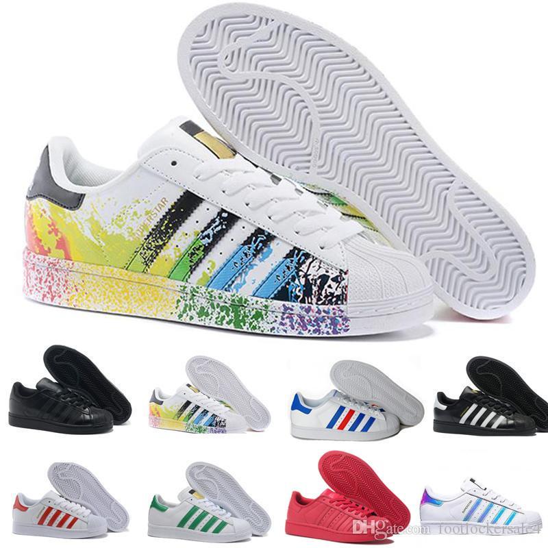 the latest b7c95 c7687 Superstar 2019 Uomo Casual Scarpe Superstars Bianco Nero Stan Smith anni 80  Pride in pelle appartamenti Designer Donna Running Sport Sneakers Taglia ...