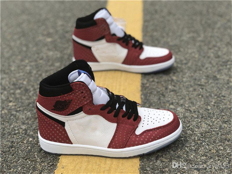 c00be5253674 2018 Release Authentic 1 High OG Chicago Crystal 1S Gym Red Spider Man Blue-Black  White-Photo Men Basketball Shoes Sport Sneakers 555088-602