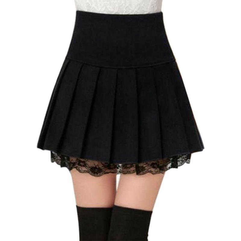 98a583980 Las muchachas atractivas de la escuela faldas cortas otoño invierno mujer  de lana mini falda femenina de cintura alta plisado mini falda ropa de ...