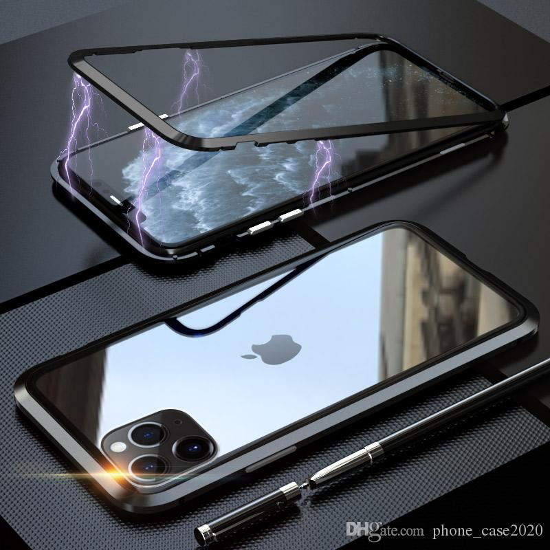 Magnetic Adsorption Tempered Glass Back Case For iPhone 11 Pro Max 11 XS Max XR XS X 8 7 6S 6 5 SE