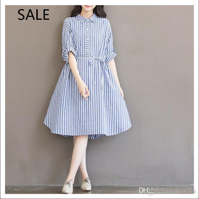 Women Dress Casual Style Striped Lapel Neck Long Sleeve