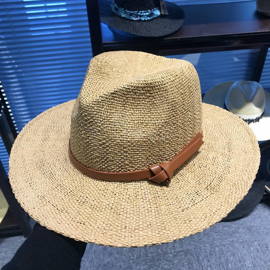 979598f89 Men Wide Brim Straw Hat Outdoor Fashion Woman Woven Travel Beach Sun Hat  Causal Fedora Panama Hats TTA608