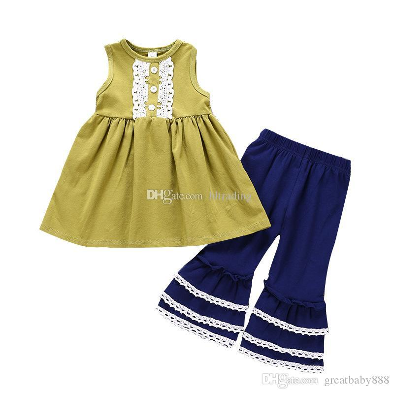 156d1d6b4ae6 Baby Girls Outfits Children Sleeveless Lace Trim Dress Top+Flare ...