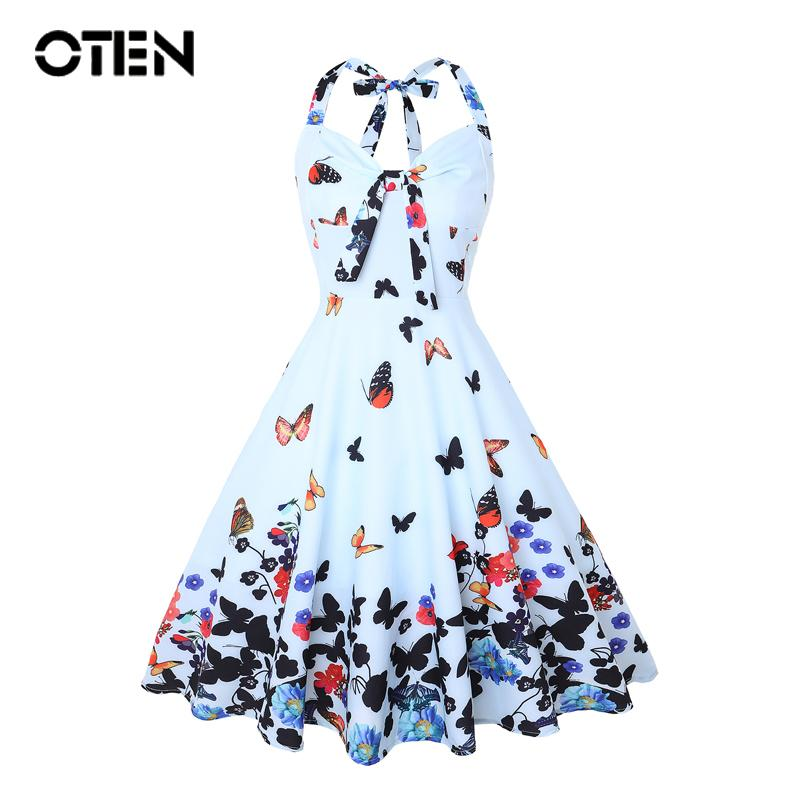 7a64fc180 2019 Oten Summer Clothes Women Halter Butterfly Flower Print Bowknot Pin Up  Rockabilly Feminino Vestidos 1950s Flared A Line Dresses Y190410 From  Zhengrui06 ...