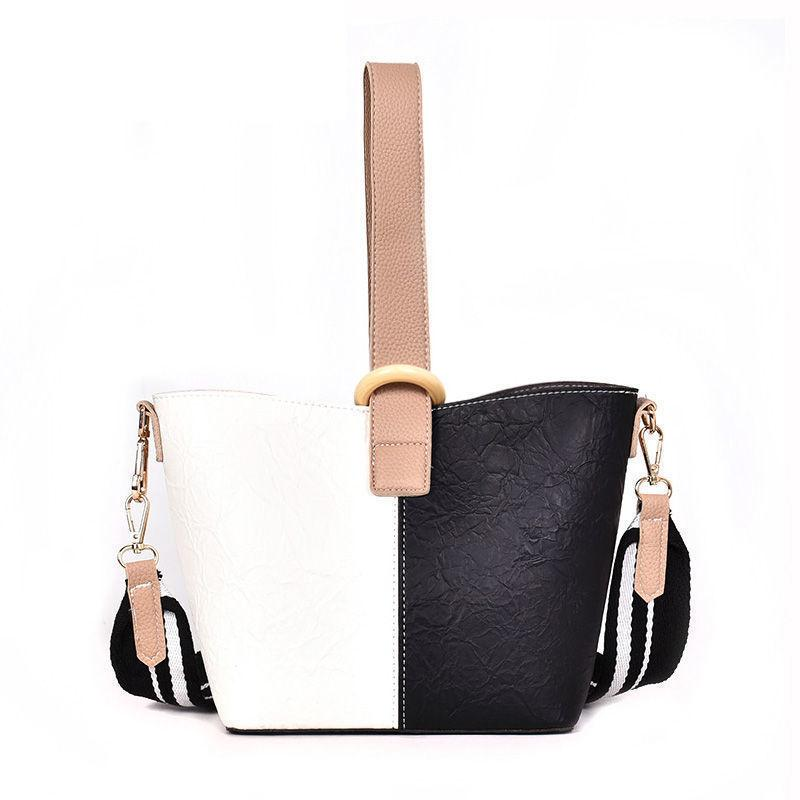 62e5a283ea3 Hit Color Bucket Bag Female New Fashion High Quality Wide Shoulder Strap  Casual Wild Temperament Shoulder Messenger Bag Crossbody Bags Satchel From  ...